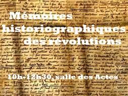 10h00 – Mémoires historiographiques révolutionnaires
